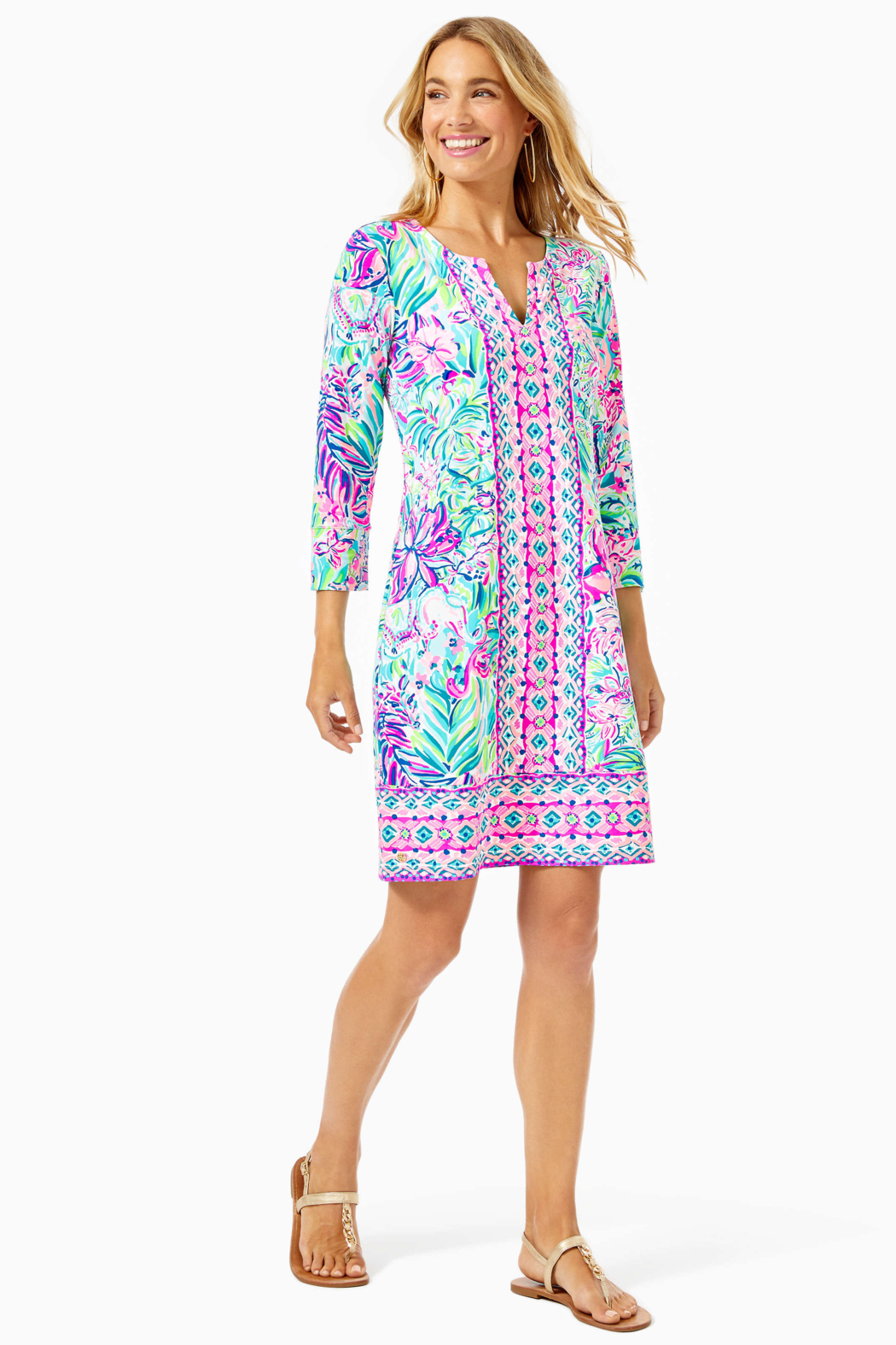 Lilly Pulitzer  Chilly Lilly Nadine Dress UPF 50+ - Back Cropped Image