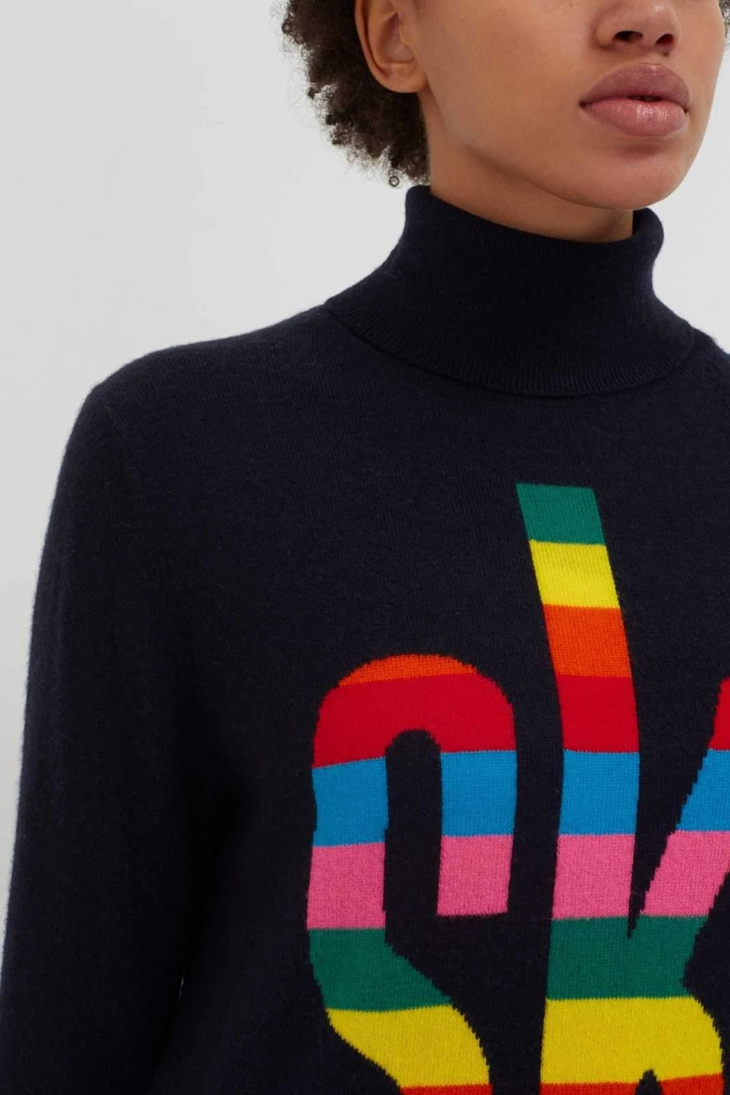 Chinti & Parker Rainbow Ski Rollneck - Side Cropped Image