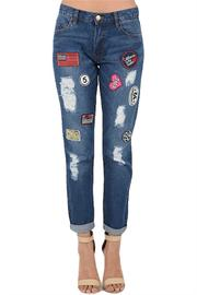 Chiqle Distressed Patch Jeans - Product Mini Image