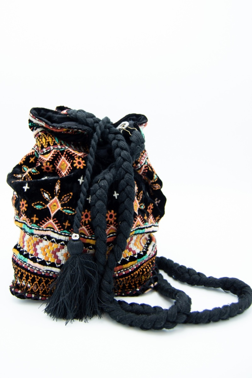 Johnny Was Chiri Velvet Embroidered Bucket Bag - Front Cropped Image