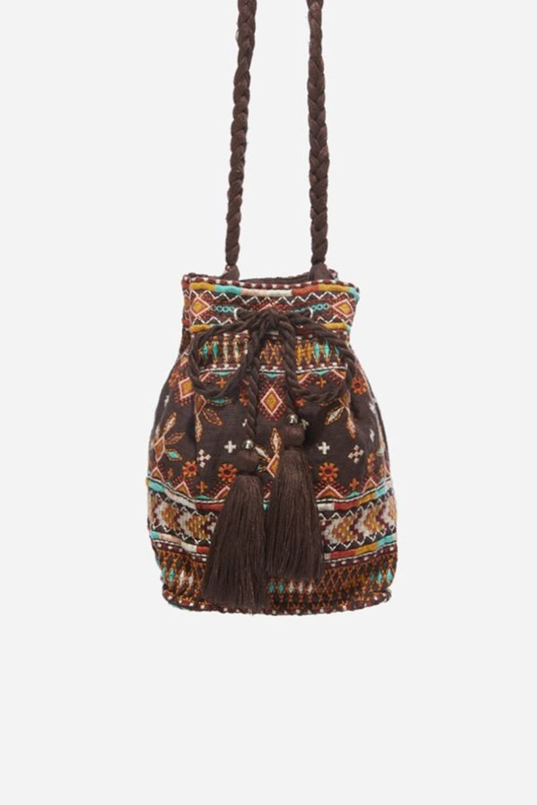 Johnny Was Chiri Velvet Embroidered Bucket Bag - Front Full Image