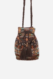 Johnny Was Chiri Velvet Embroidered Bucket Bag - Front full body