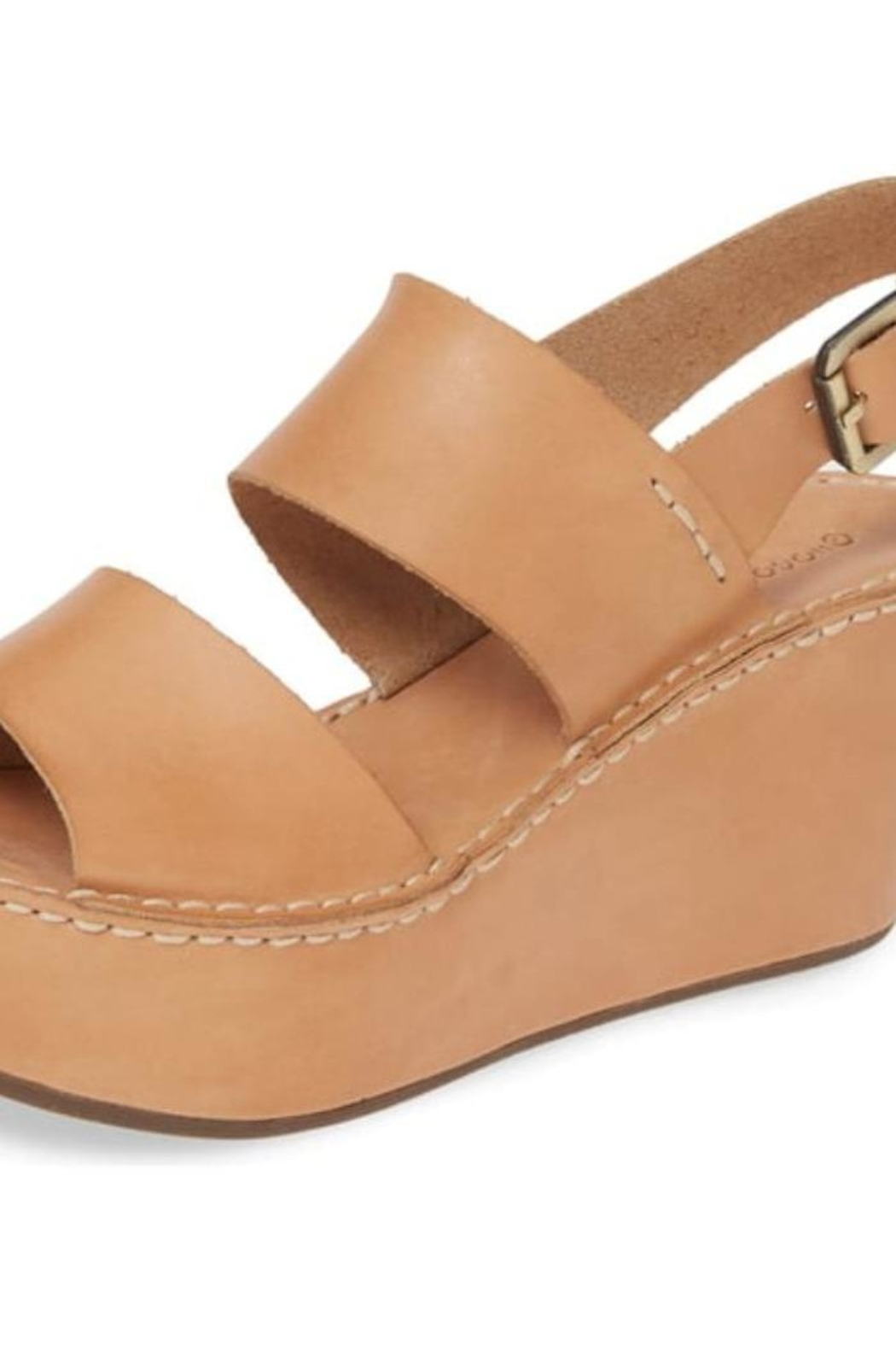 Chocolat Blu Camel Leather Wedges - Front Cropped Image