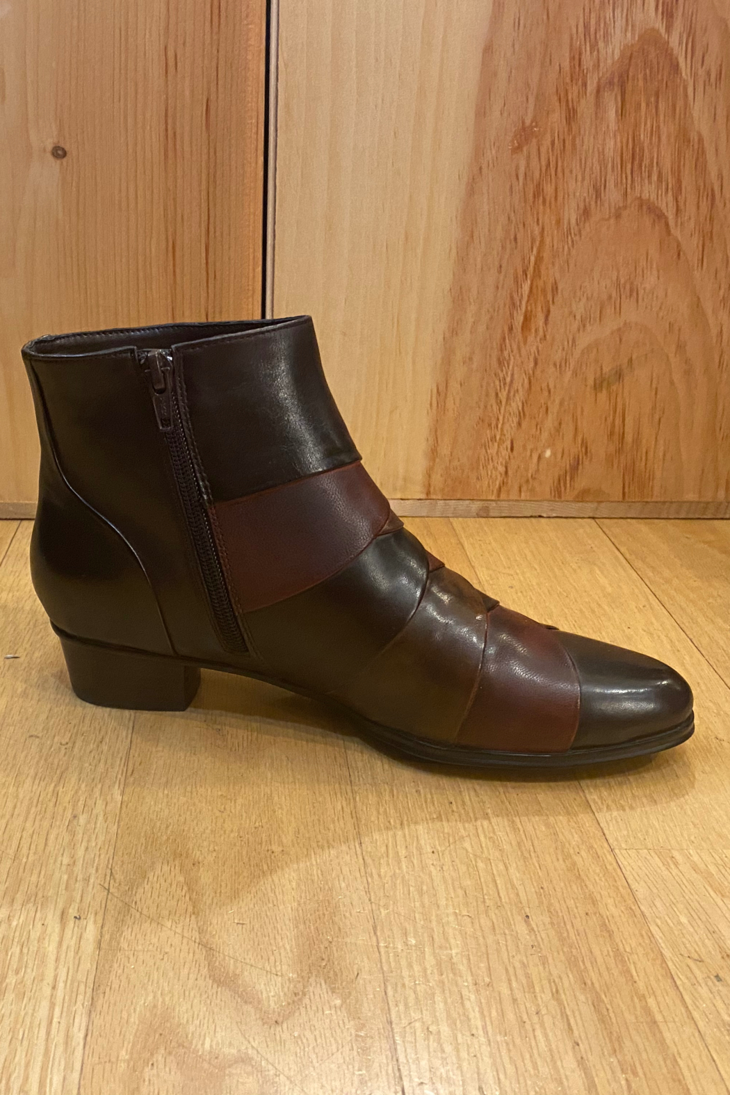 Spring Step  Chocolate brown ankle boot - Front Cropped Image