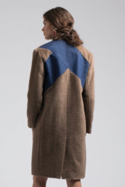Amall Chocolate/Denim Peacoat - Front cropped