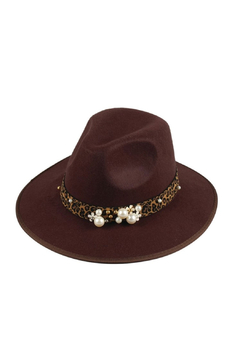 Maison A Chocolate Hat w/ Leopard & Pearl Band - Alternate List Image