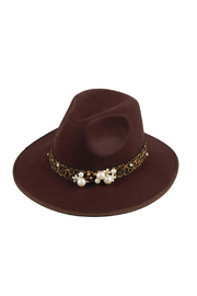 Maison A Chocolate Hat w/ Leopard & Pearl Band - Product Mini Image