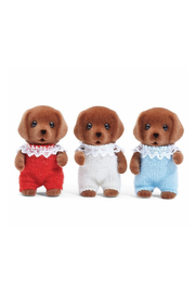 Calico Critters Chocolate Lab Triplets - Front full body