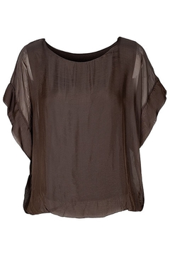 M made in Italy Chocolate Lined S/S Top - Alternate List Image
