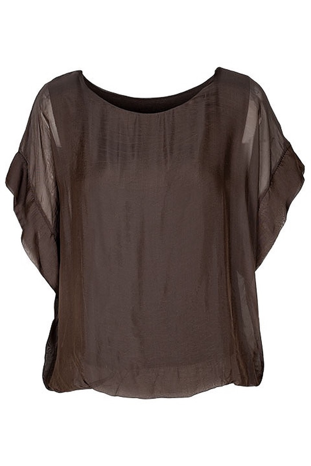 M made in Italy Chocolate Lined S/S Top - Main Image