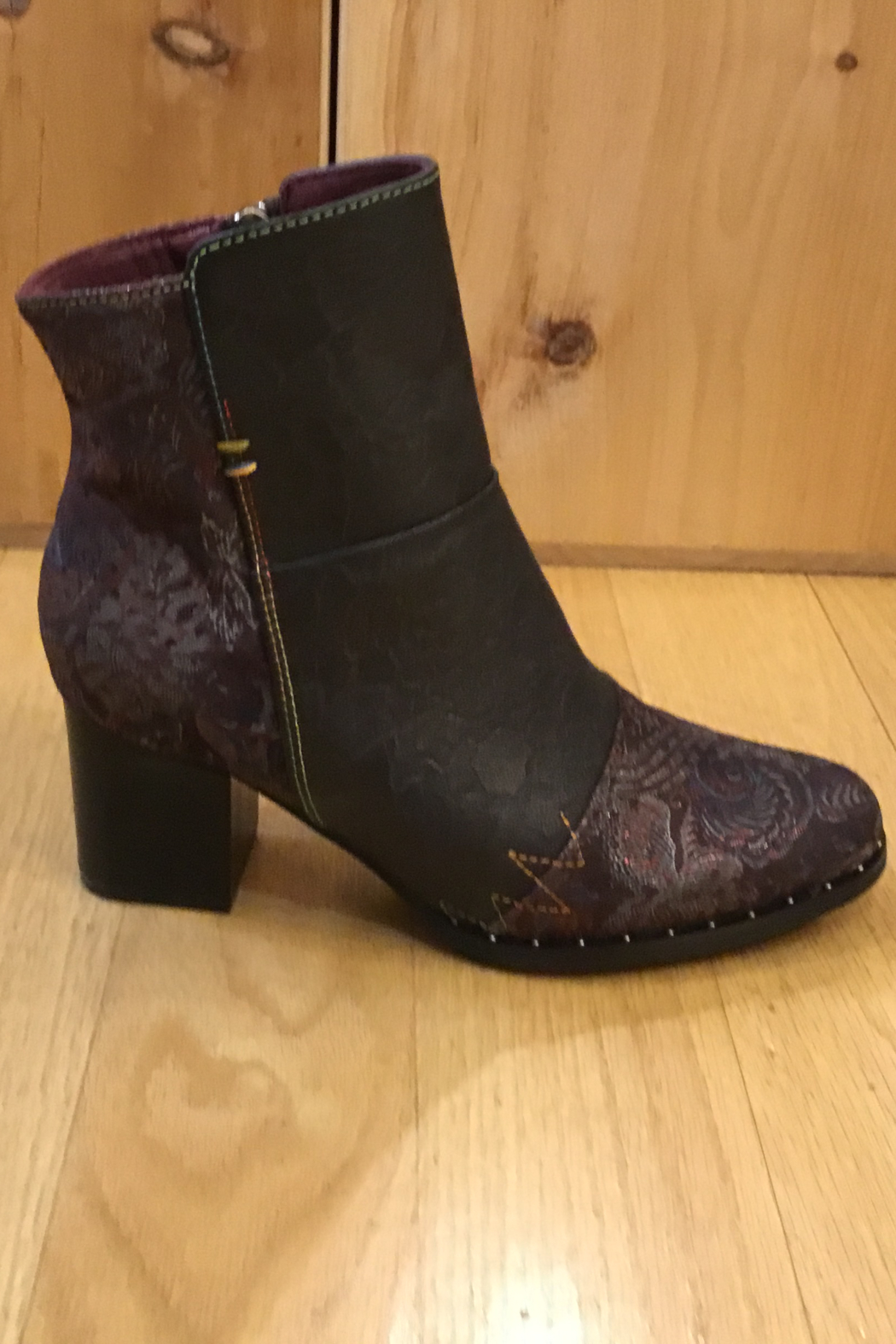 Spring Step  Chocolate multi bootie - Side Cropped Image
