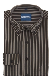 Resistol Chocolate Stripe Button Up - Front full body