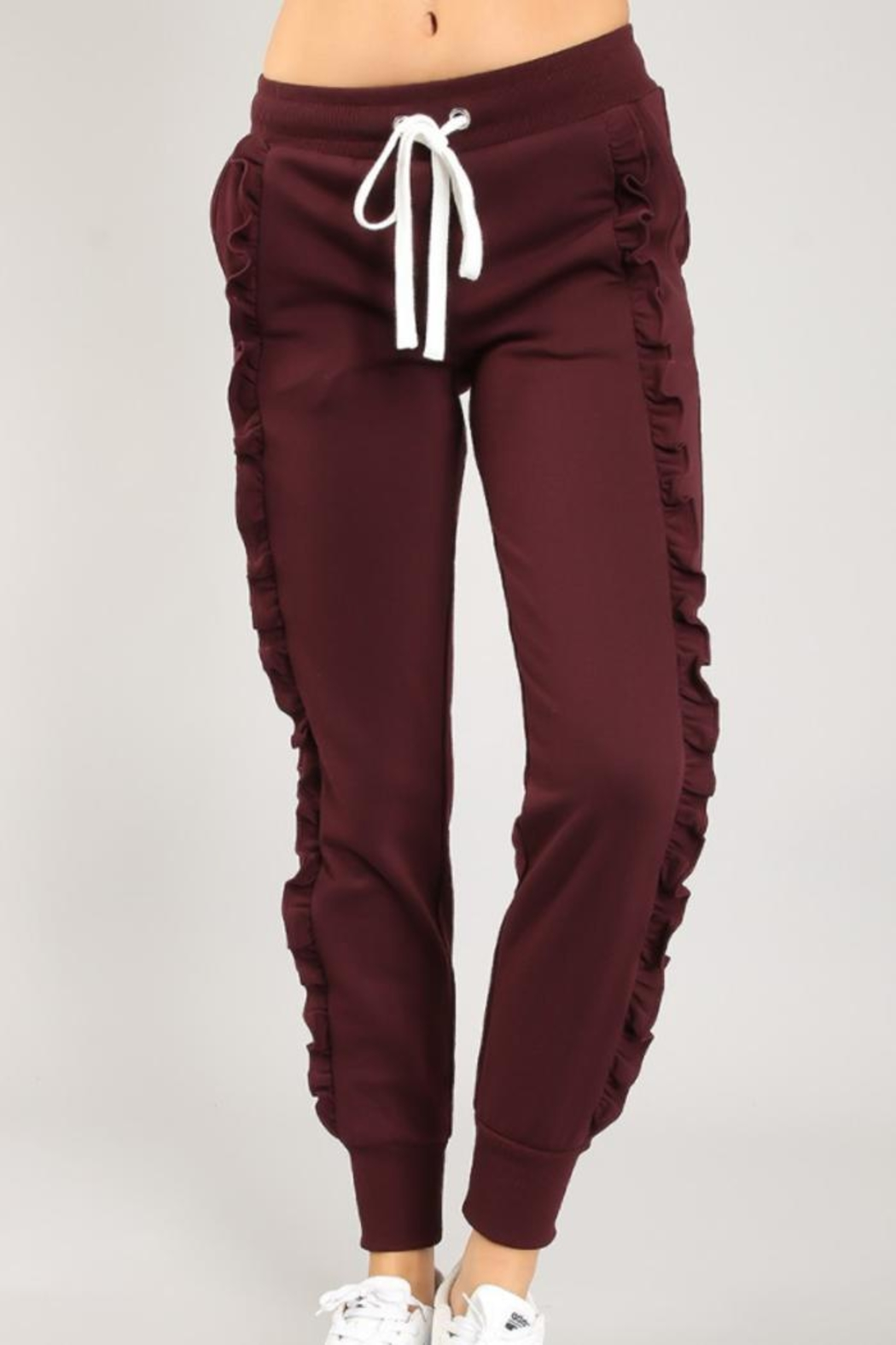 chocolate usa Flirty Ruffled Joggers - Main Image