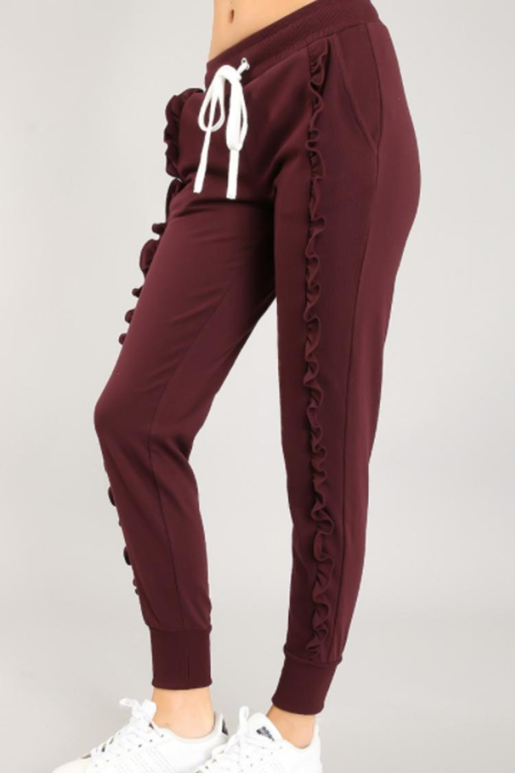 chocolate usa Flirty Ruffled Joggers - Front Full Image