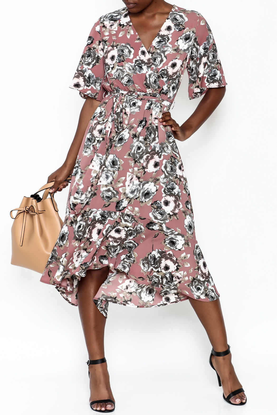 Chris & Carol Mauve Floral Dress - Main Image
