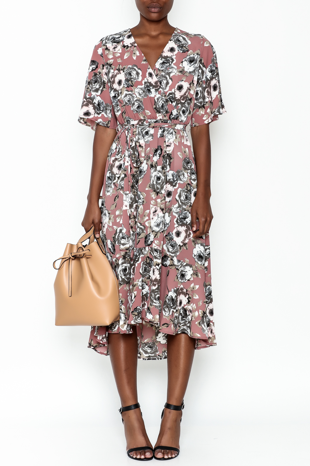 Chris & Carol Mauve Floral Dress - Front Full Image