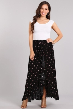 Shoptiques Product: Black Rosebuds Maxi Skirt