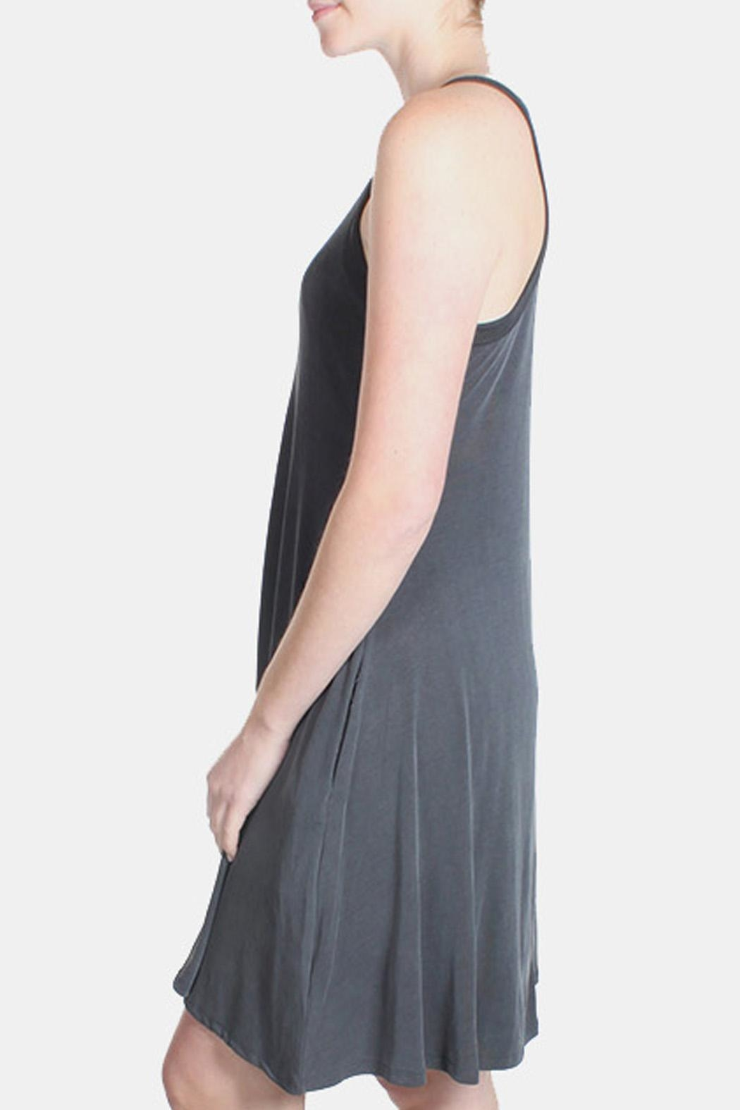 Chris & Carol Charcoal Ribbed Dress - Back Cropped Image