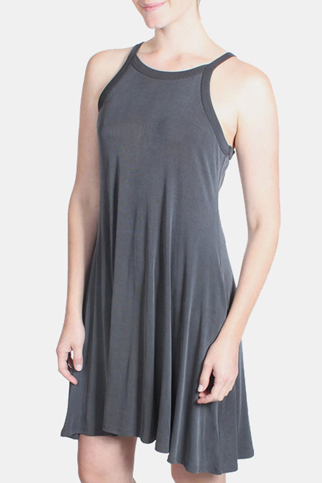 Chris & Carol Charcoal Ribbed Dress - Side Cropped Image