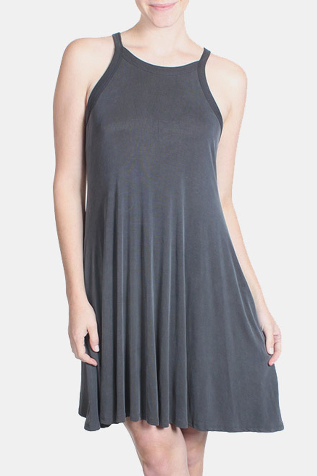 Chris & Carol Charcoal Ribbed Dress - Front Full Image