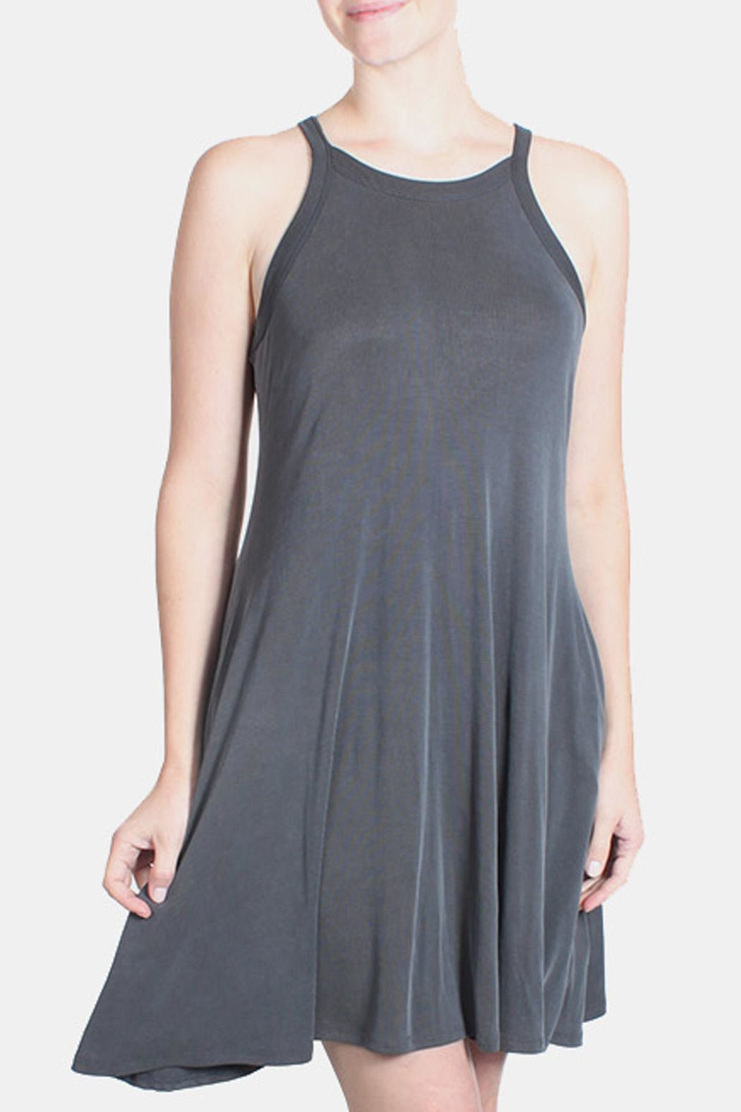 Chris & Carol Charcoal Ribbed Dress - Main Image