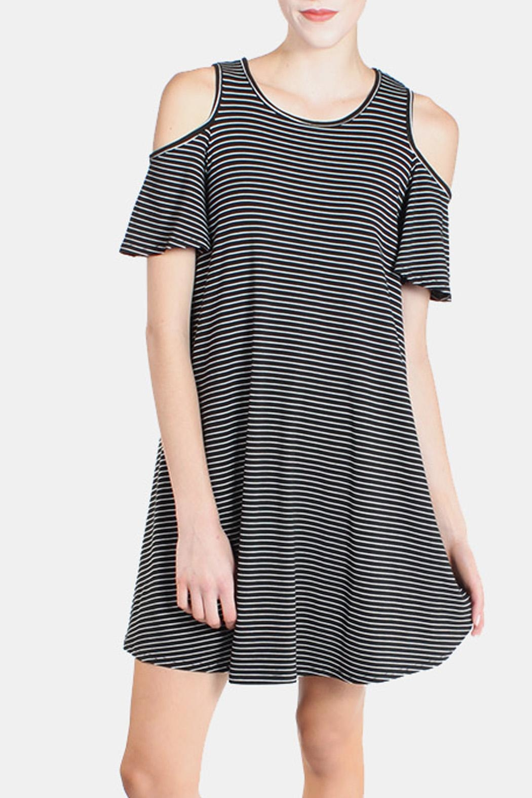 Chris & Carol Cold Shoulder Striped Dress - Main Image
