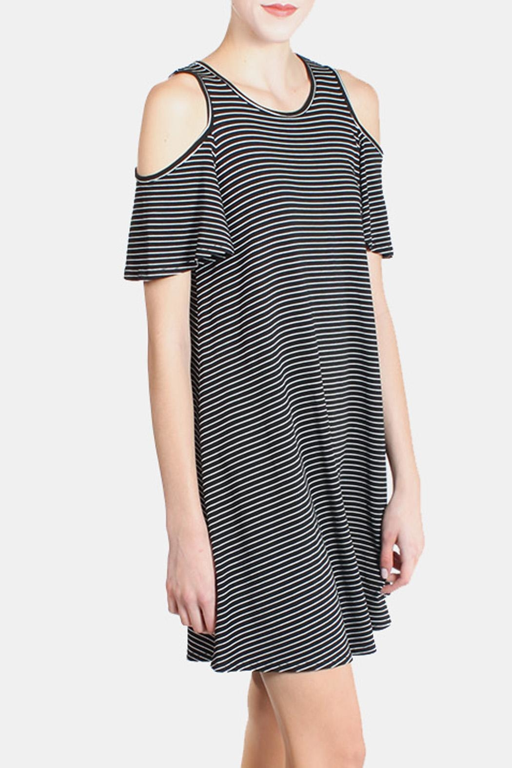 Chris & Carol Cold Shoulder Striped Dress - Back Cropped Image
