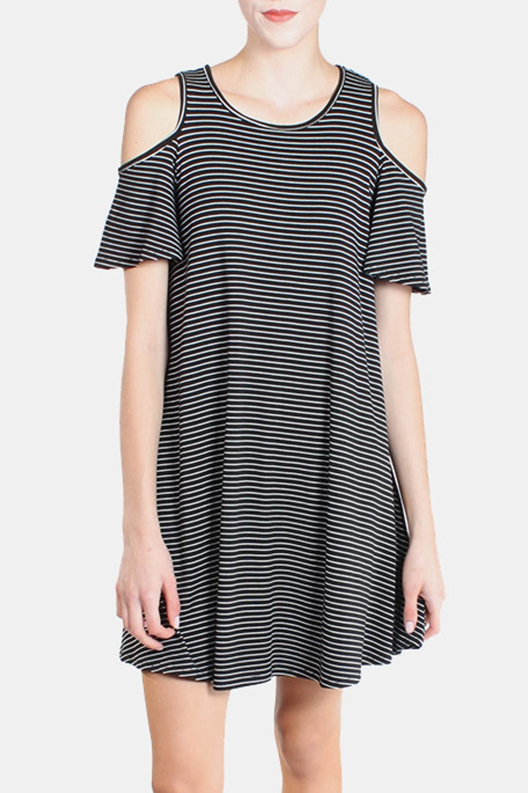 Chris & Carol Cold Shoulder Striped Dress - Front Full Image