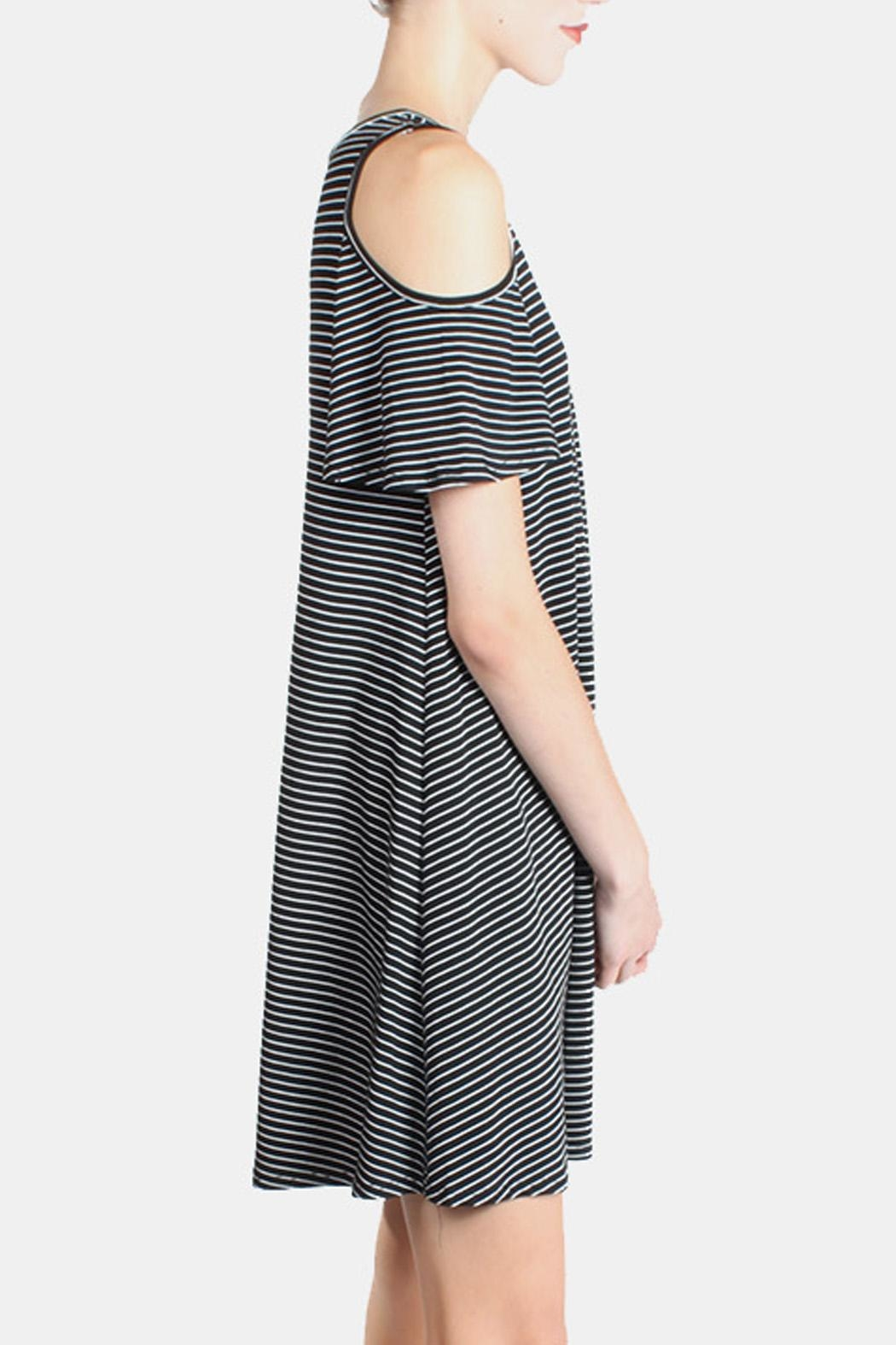 Chris & Carol Cold Shoulder Striped Dress - Side Cropped Image