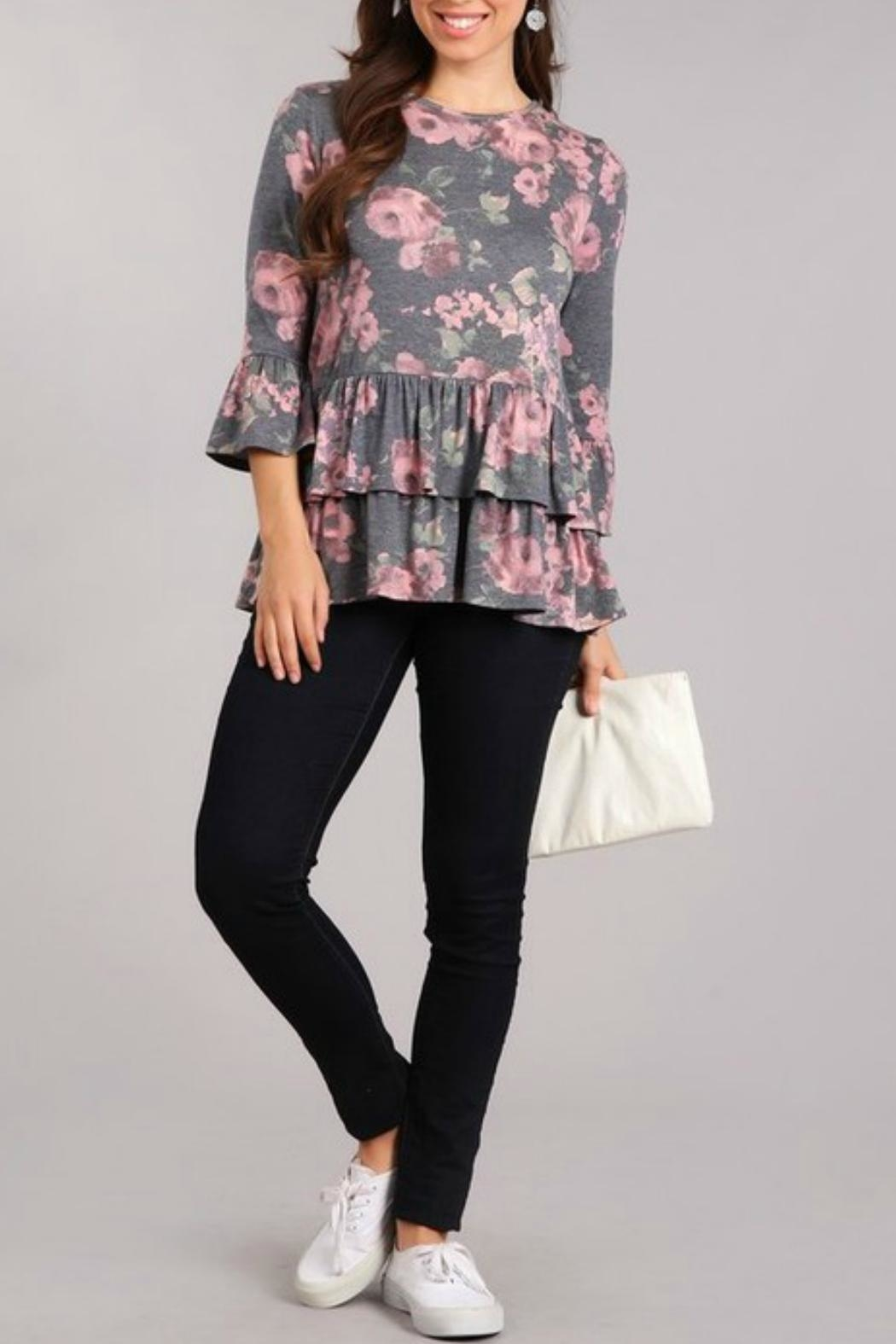 Chris & Carol Floral Ruffle Top - Front Cropped Image