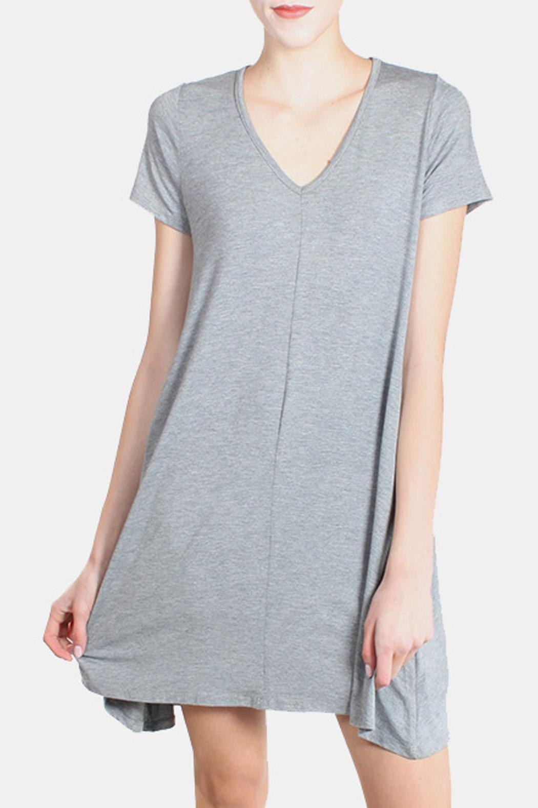 Chris & Carol Grey Essential Jersey Dress - Front Cropped Image