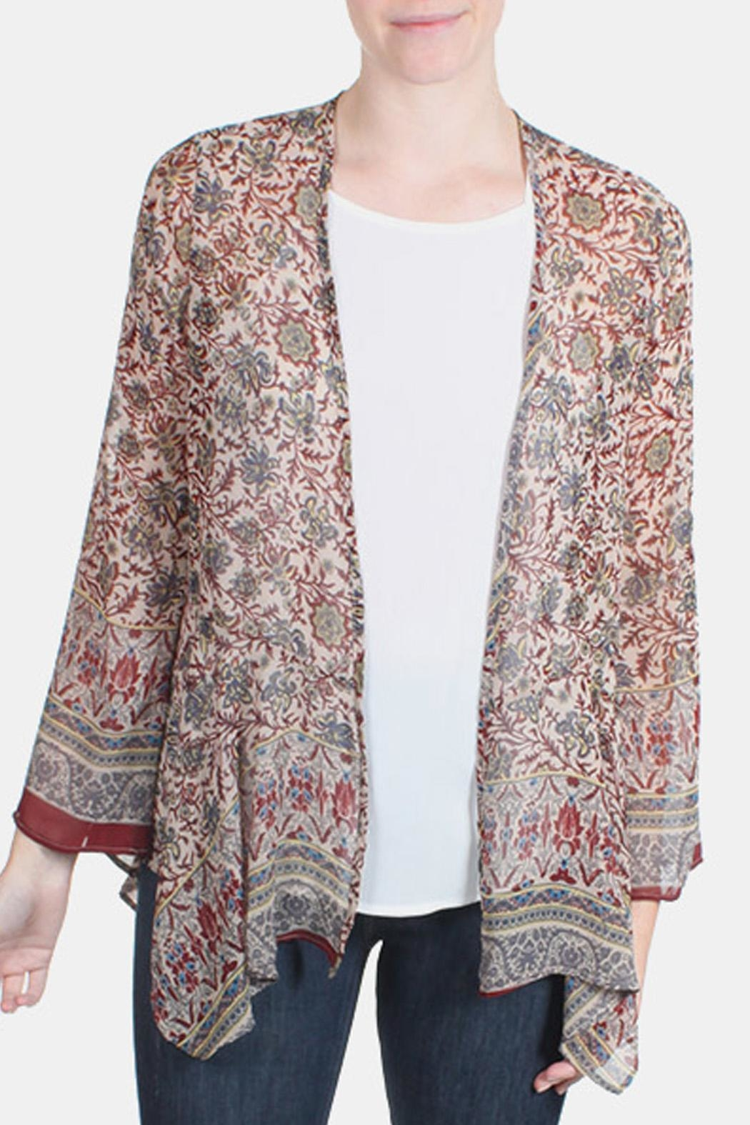 Chris & Carol Maroon Floral Kimono Cardigan from Los Angeles by ...