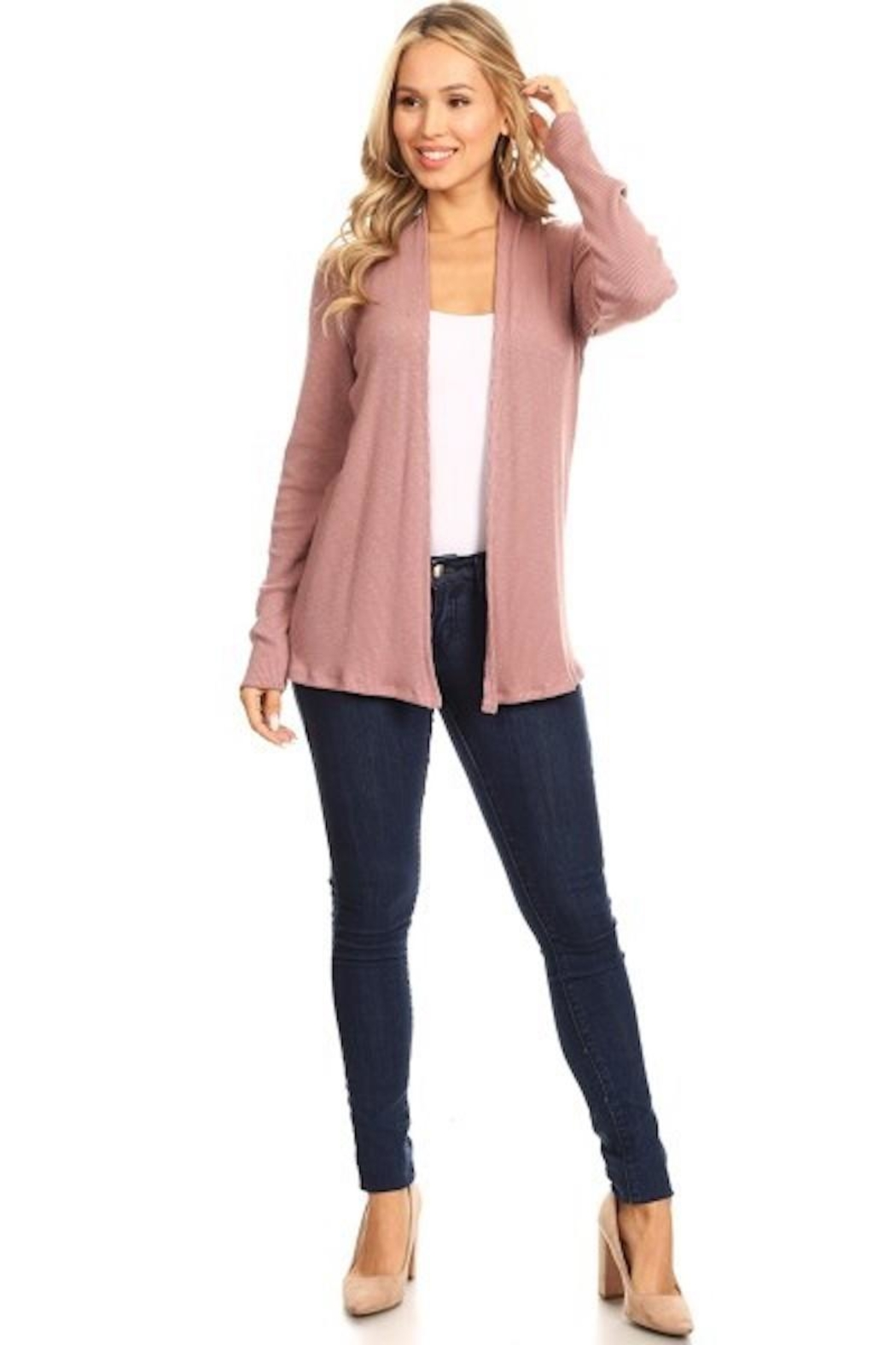 Chris & Carol Mauve Ribbed Cardigan - Side Cropped Image