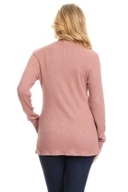 Chris & Carol Mauve Ribbed Cardigan - Back cropped