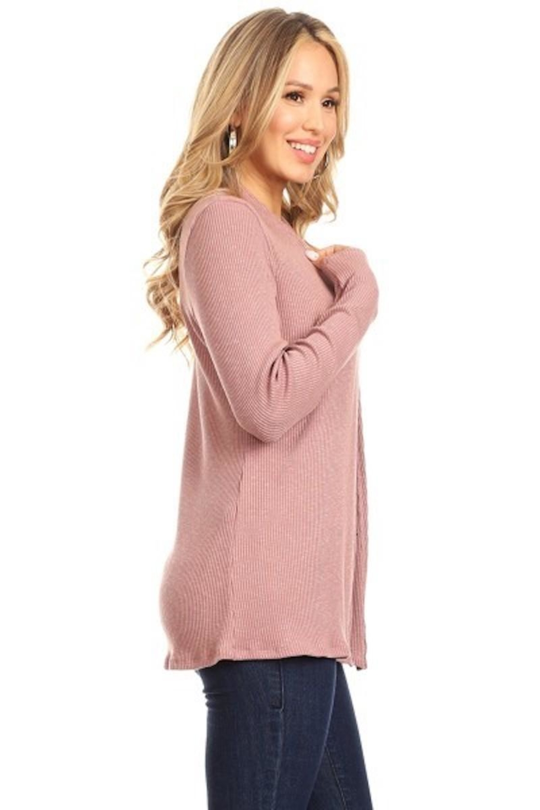 Chris & Carol Mauve Ribbed Cardigan - Front Full Image