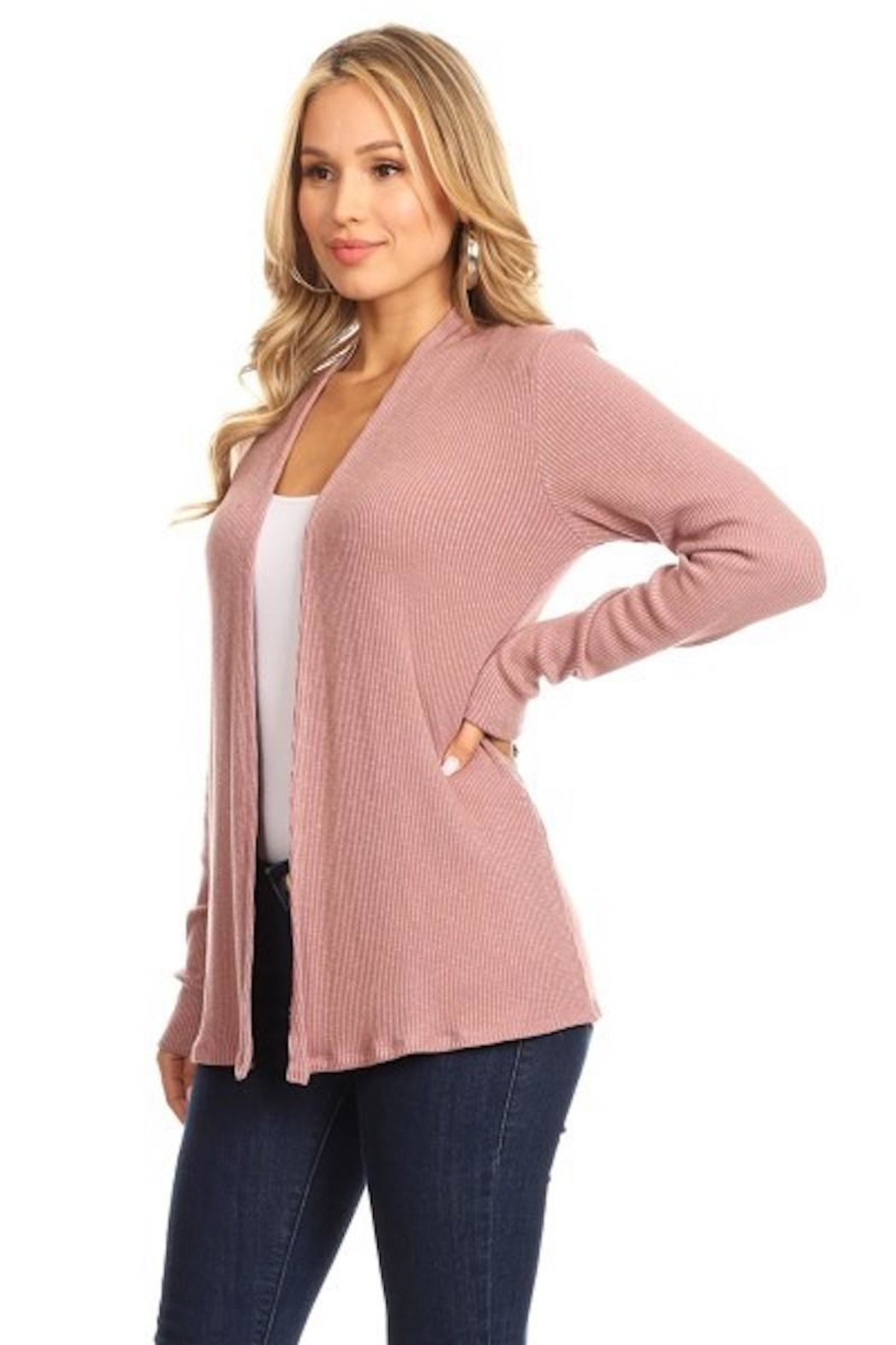 Chris & Carol Mauve Ribbed Cardigan - Main Image