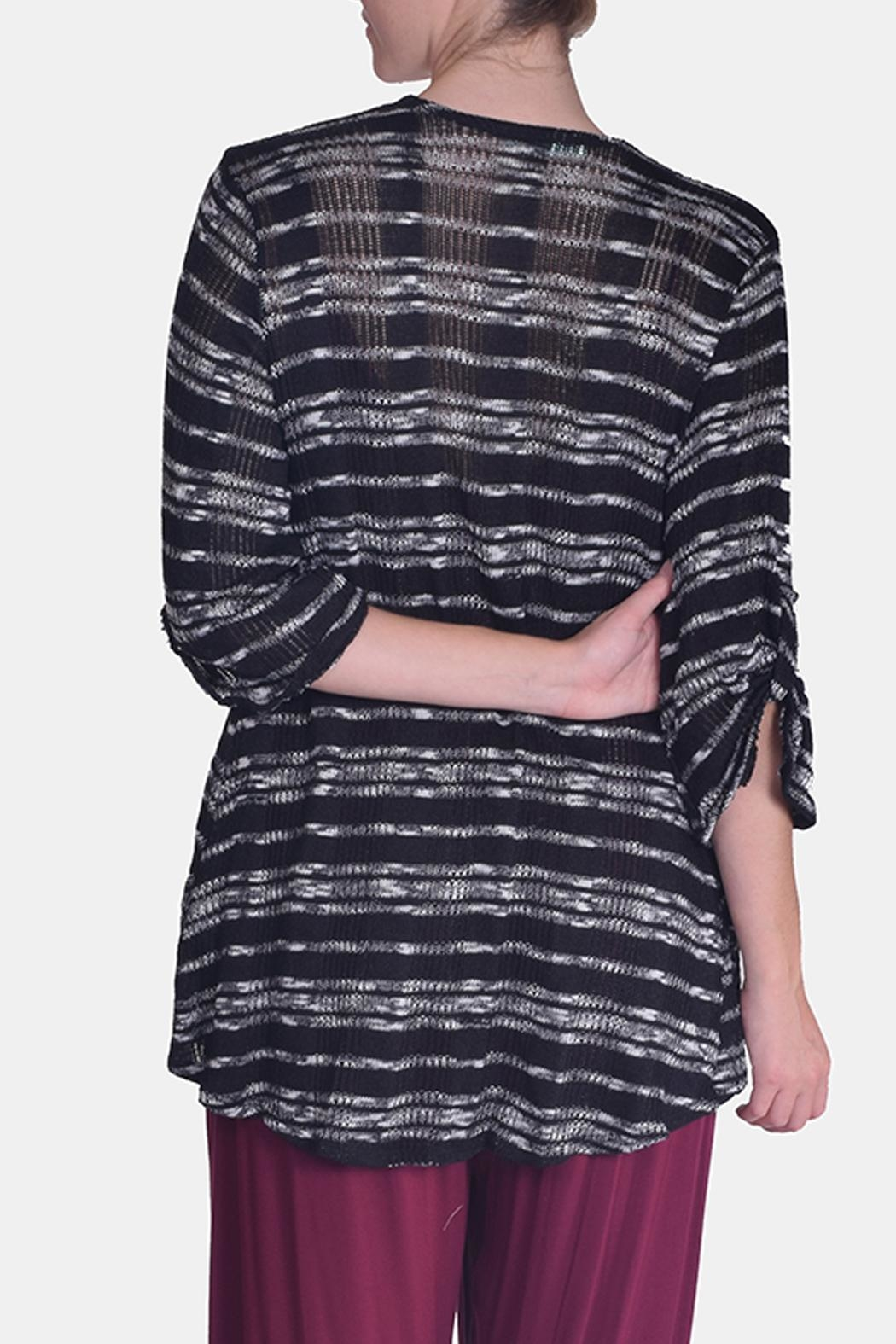 Chris & Carol Midnight Striped Cardigan - Back Cropped Image