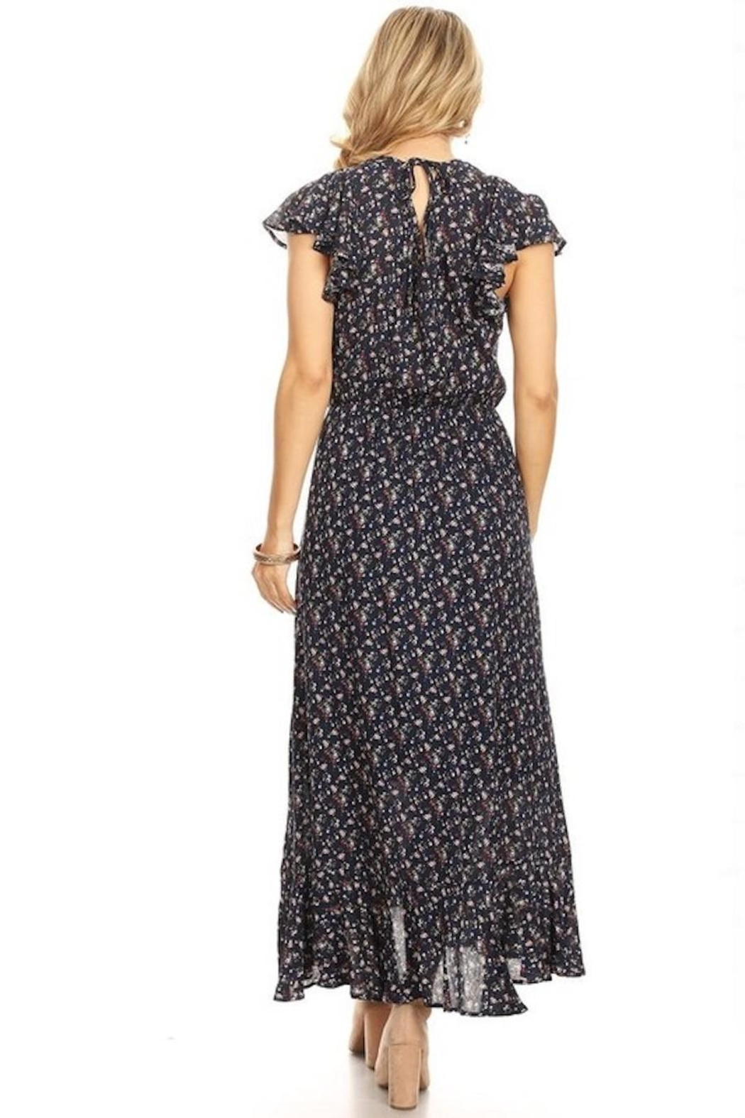 Chris & Carol Navy Dainty Floral Everyday Maxi - Side Cropped Image