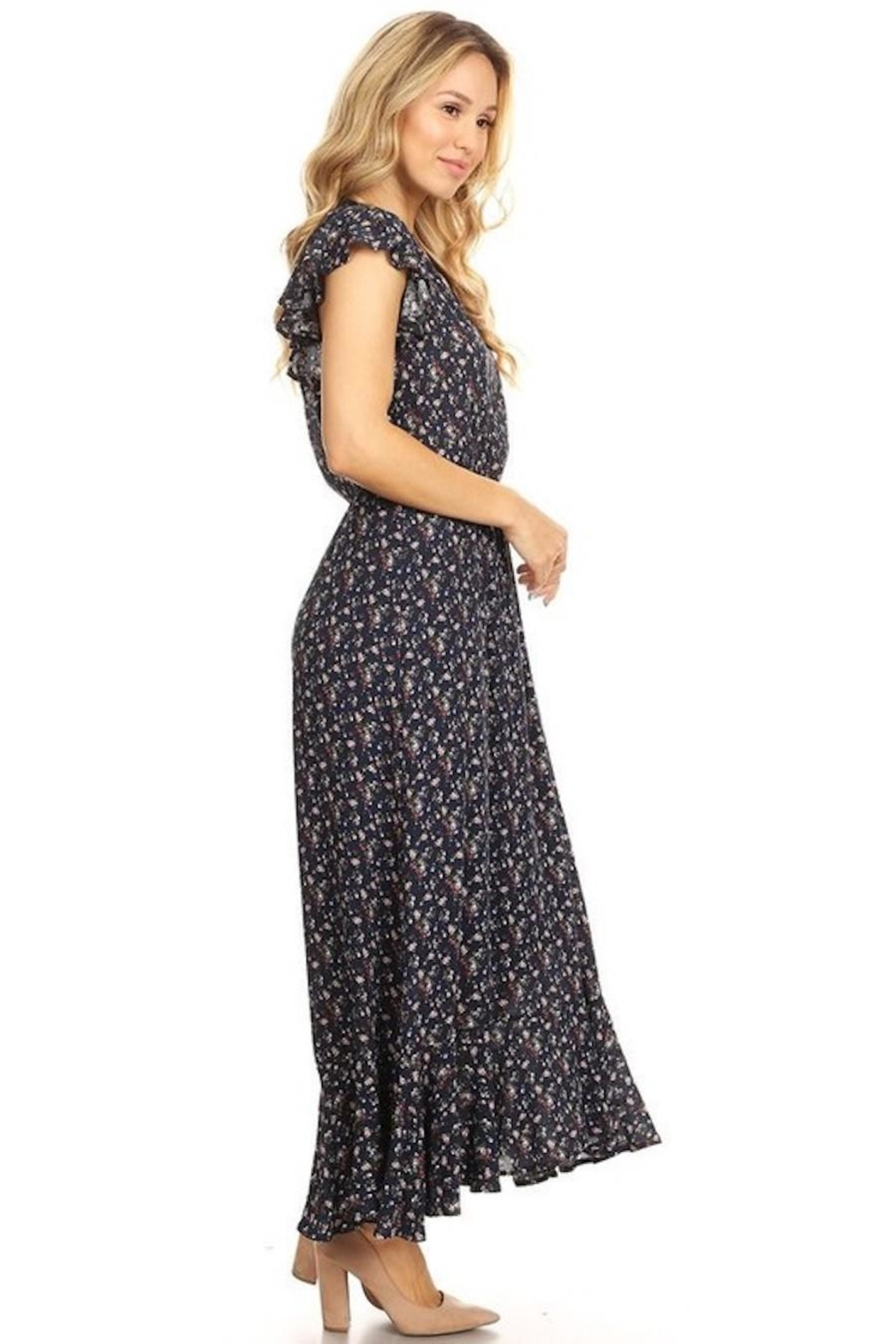 Chris & Carol Navy Dainty Floral Everyday Maxi - Front Full Image