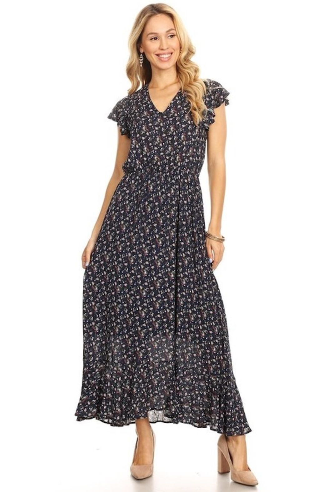 Chris & Carol Navy Dainty Floral Everyday Maxi - Main Image