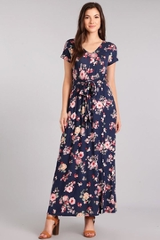 Chris & Carol Navy Floral V-Neck Comfy Maxi - Product Mini Image