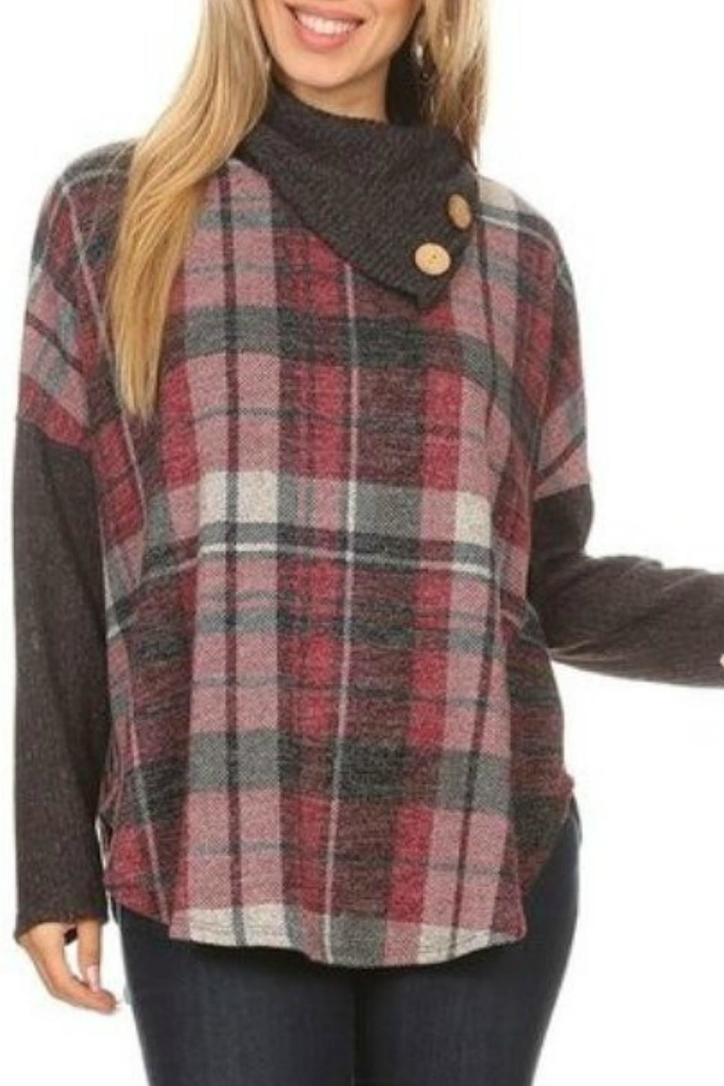 Chris & Carol Plaid Top Tunic - Front Cropped Image