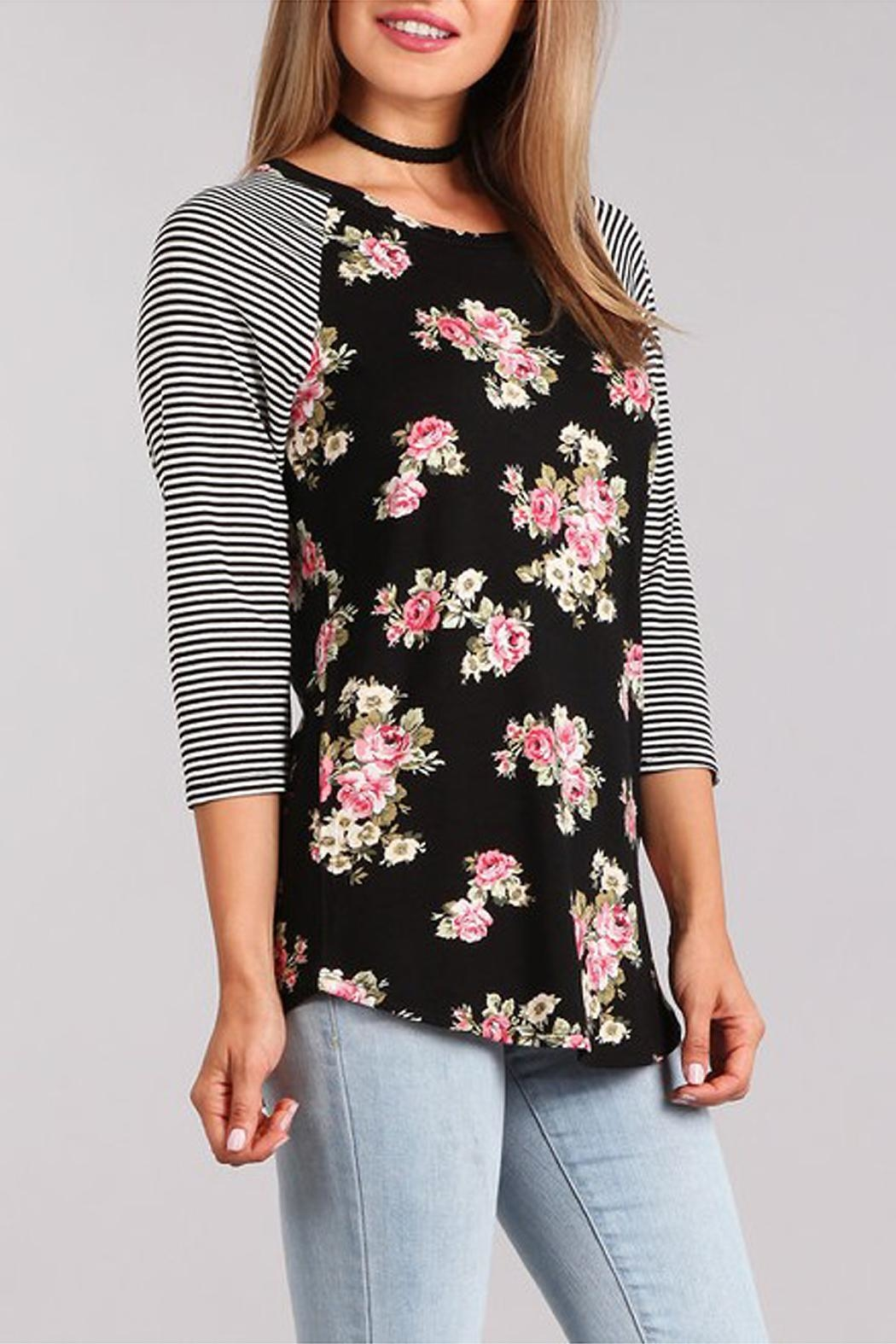 Chris & Carol Raglan Floral Top - Front Full Image