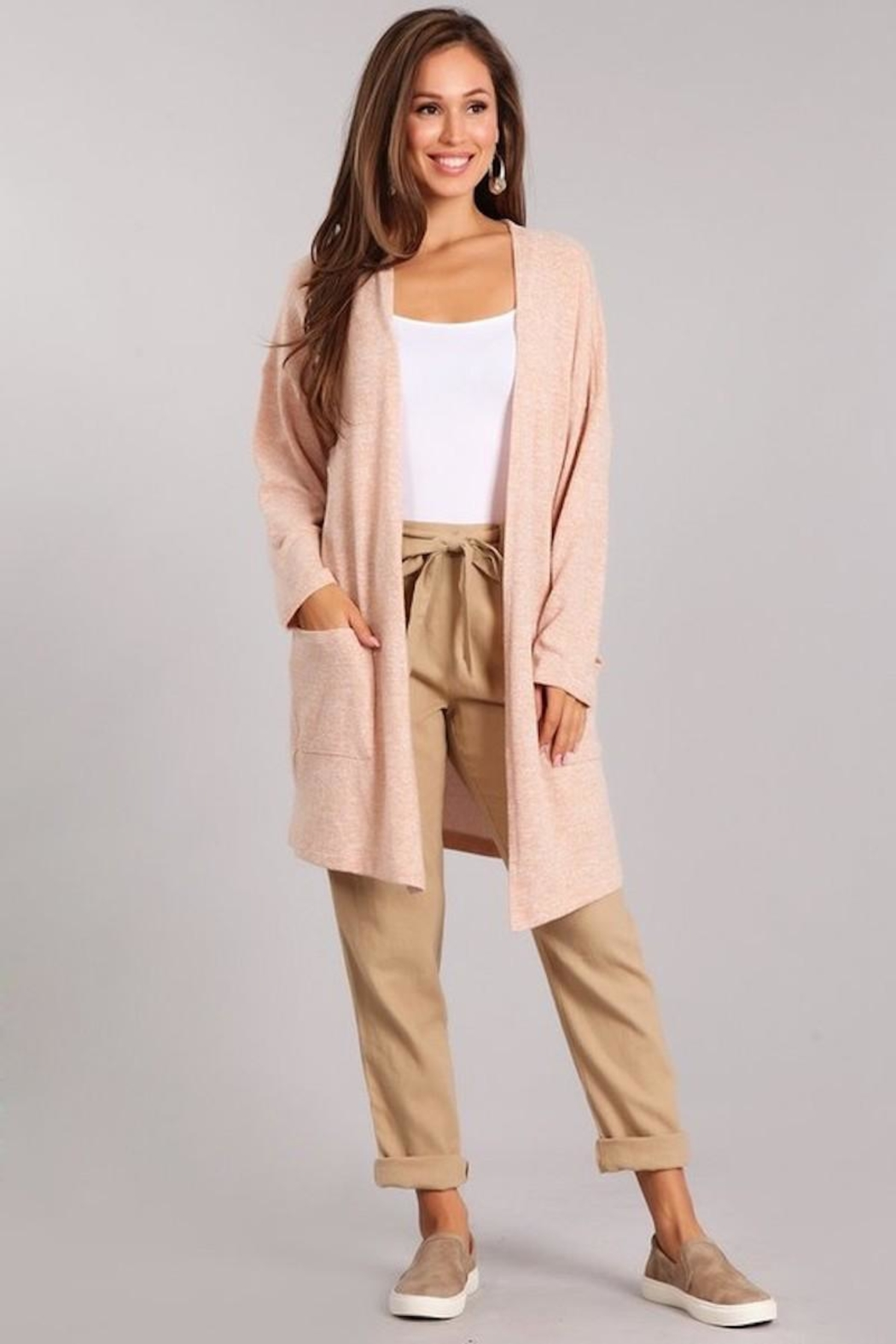 Chris & Carol Soft Peach Pocket Cardigan - Main Image
