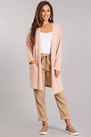 Chris & Carol Soft Peach Pocket Cardigan - Front cropped