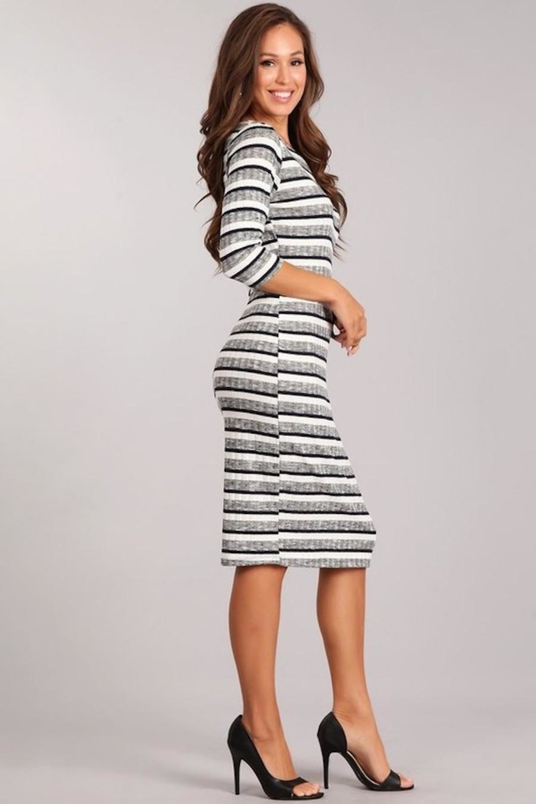 Chris & Carol Striped Knit Dress - Back Cropped Image