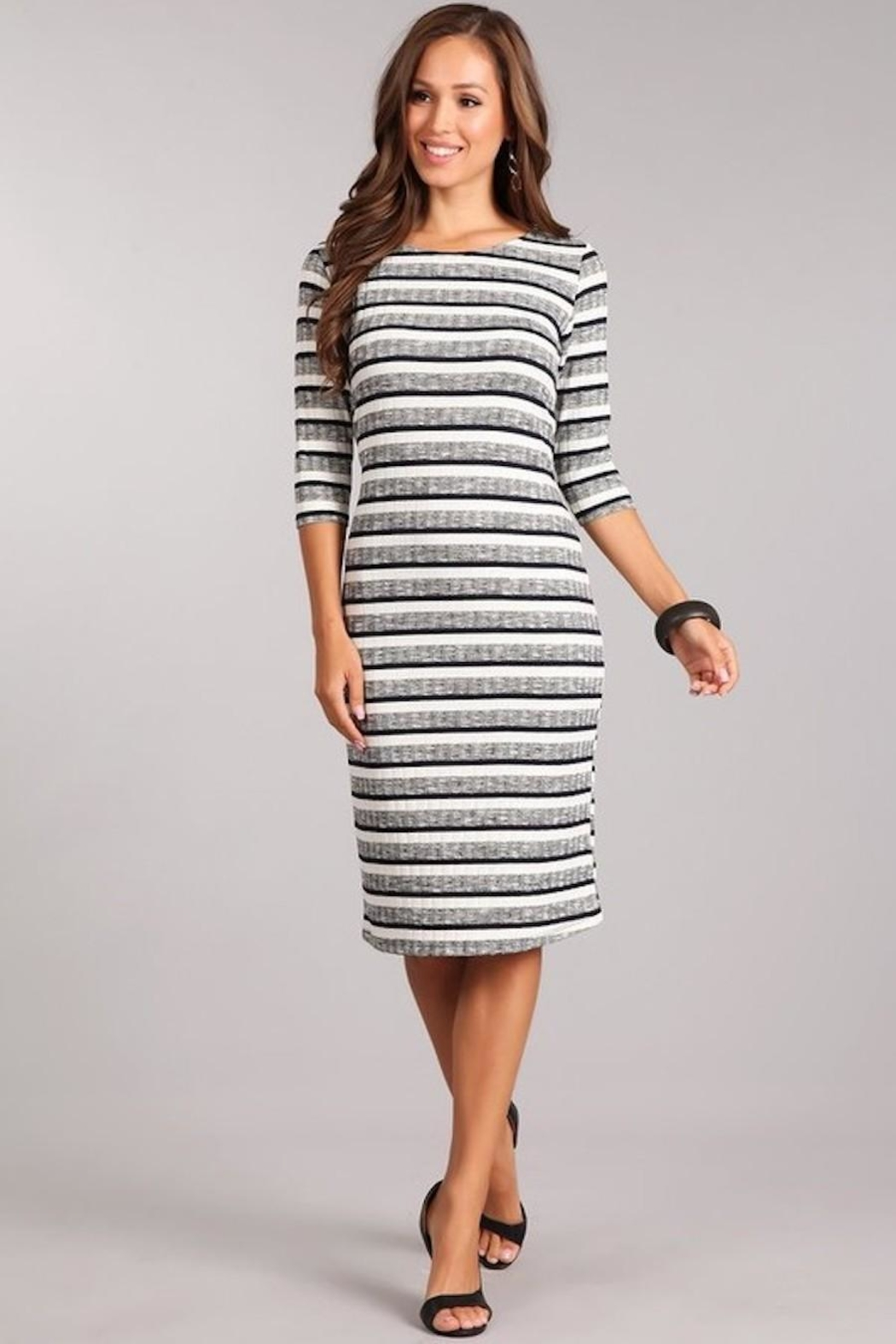 Chris & Carol Striped Knit Dress - Front Full Image