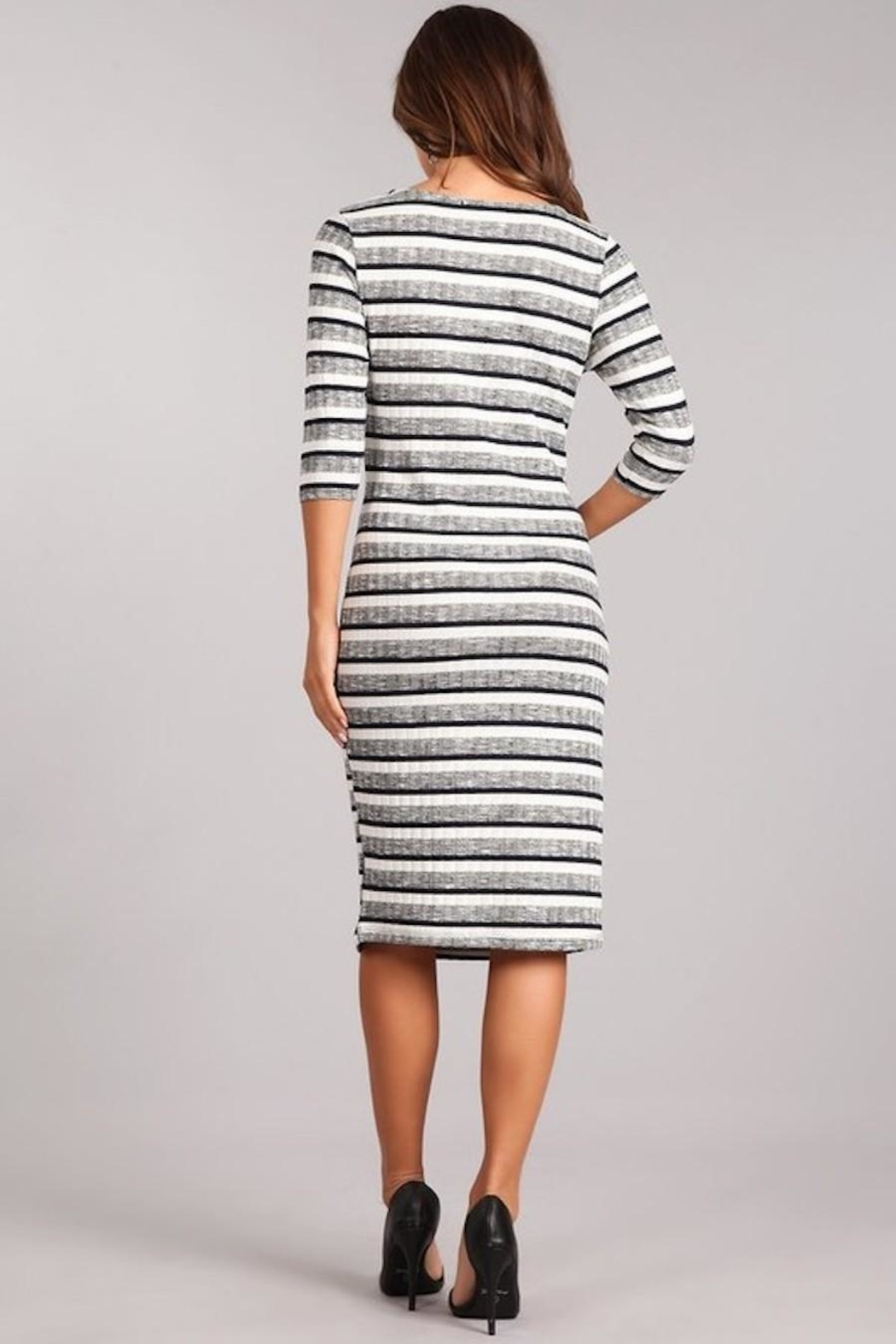 Chris & Carol Striped Knit Dress - Side Cropped Image