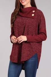 Chris & Carol Wine Button Sweater - Product Mini Image