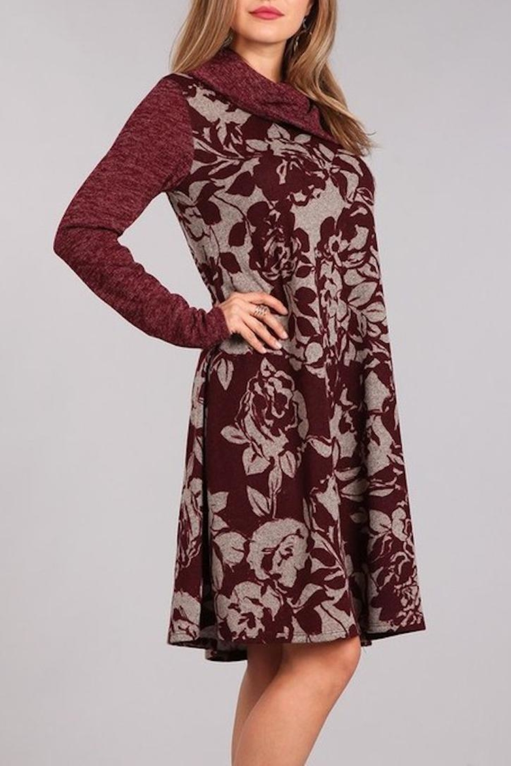 Chris & Carol Wine Floral Dress - Front Full Image